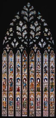 The West Window is best viewed from half way down the Nave or from the central crossing. Paid for by Archbishop Melton and painted by Master Richard Ketelbarn between 1338 and 1339. It is affectionately known as the 'Heart of Yorkshire' because of the heart-shape in its flamboyant tracery. The tracery was re-carved by carvers in the Minster Stoneyard between 1989 and 1990, the original tracery having decayed beyond repair.