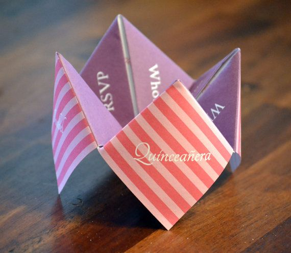 Quinceañera, Invitation, Favor, Quinceanera Birthday, Party, Sweet Sixteen, Personalized, Custom, DIY, Printable, Cootie Catcher, Decoration by DesignsByTenisha, $10.00