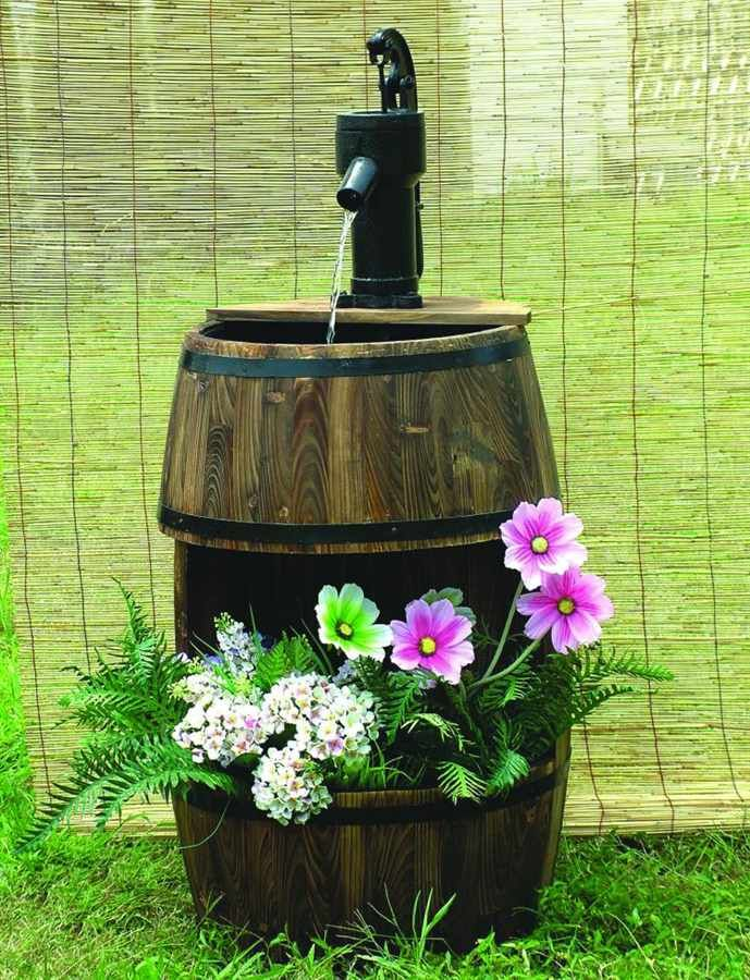 Wood Barrel Water Fountain