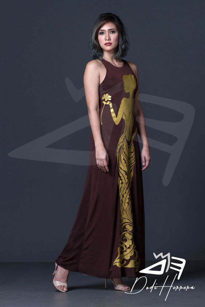 Cebu Gown Manufacturer Brown Long Dress With Print Accent Custom
