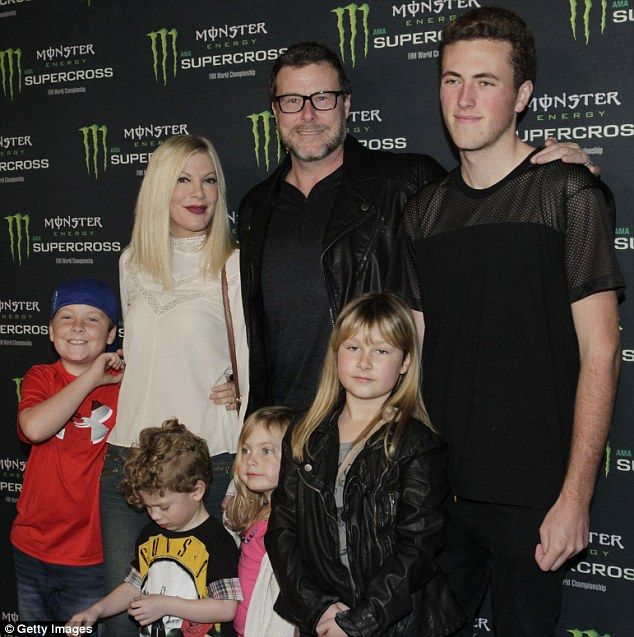 Growing family: The actress and husband Dean McDermott (pictured in January) are parents t...