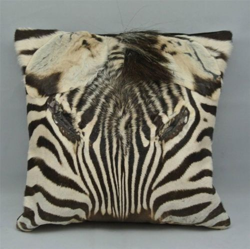 "AFRICAN genuine ZEBRA SKIN / HIDE CUSHION / PILLOW 14"" - Mane & face Detail NEW"