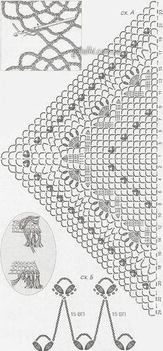 Шаль изысканным узором крючком. Описание, схема вязания