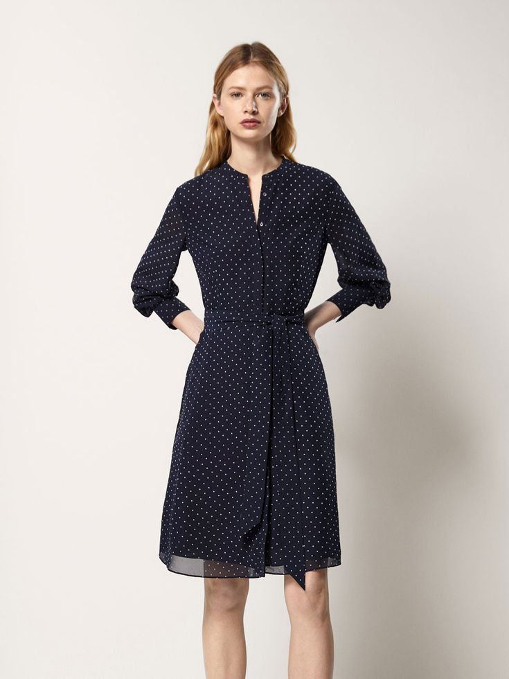 POLKA DOT DRESS WITH BOW DETAIL - Women - Massimo Dutti