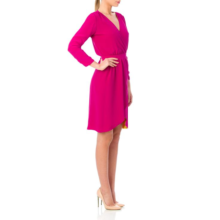 As we know, nothing interesting is ever completely one-sided. Designed with a wrap style and cut from silk-satin, you can wear the Reversible dress in Magenta or Yellow. Wear it best with sandals for an exquisite party.  Fluid textil  Double layers of silk  DRY CLEAN ONLY  The model is 176 cm tall and is wearing a size 36.  If you need this product made to fit your needs and measures, book an appointment in our studio at i@laurahincu.ro for Private Fashioning.