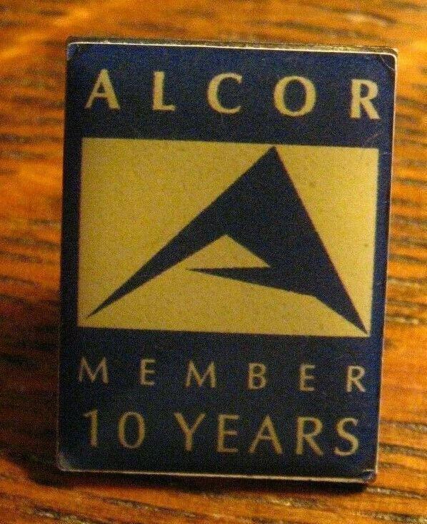Alcor Member Lapel Pin Cryonics Life Extension Freezing 10 Years