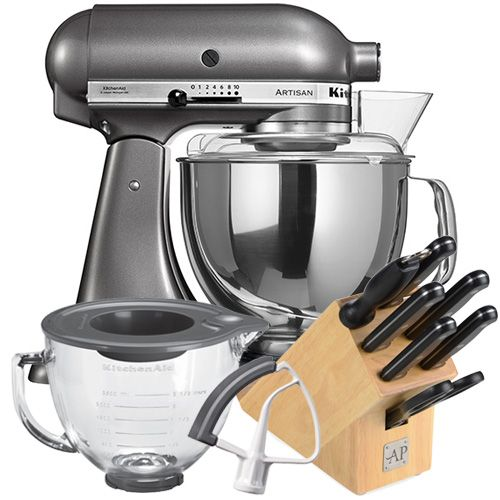 FREE KitchenAid Artisan Glass Bowl Worth £85.00 (Via redemption) FREE KitchenAid Artisan Flex Edge Beater Worth £35.00 (Via redemption) FREE KitchenAid Cookbook (Via Guarantee Redemption) FREE Arthur Price 7 Piece Knife Block Worth £99.99, includes: paring knife, utility knife, slicing knife, bread knife, chefs knife, sharpening steel, scissors and wooden knife block with tablet / recipe holder  Hand constructed from full die-cast metal construction resulting in a robust, stable and durable…