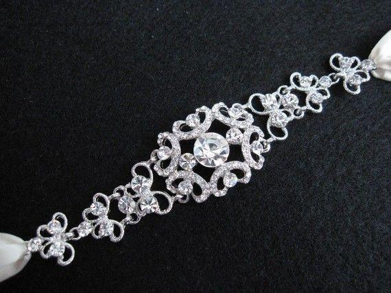 Crystal wedding headband, bridal crystal headpieces, bridal headband ribbon,