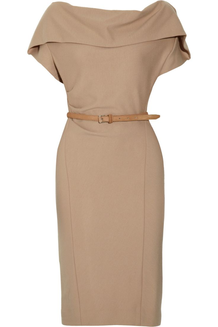 Donna Karan Belted stretch wool-blend dress