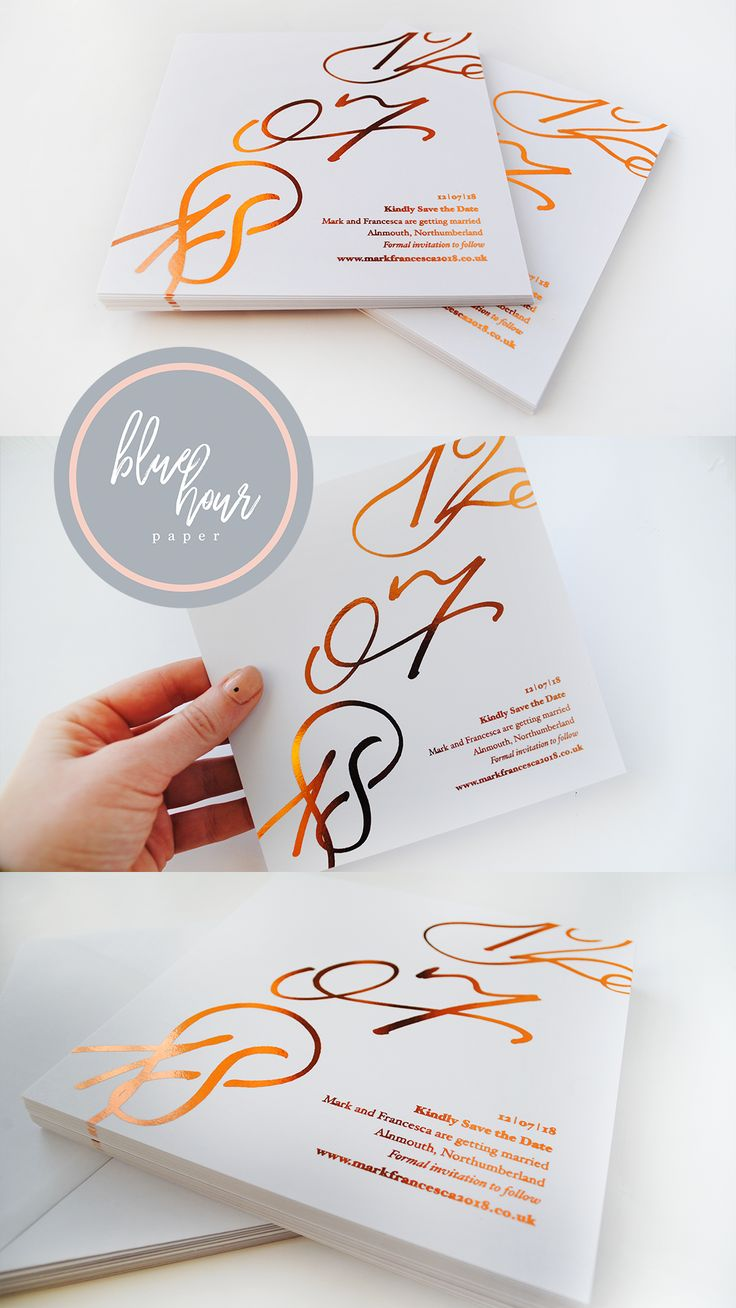 These bespoke Save the Date Cards are ideal for your luxury wedding as your special date will be personalised in elegant calligraphy. With on trend copper foiling, they are the perfect first impression to wow your guests and make them excited to pencil your date in their diary!