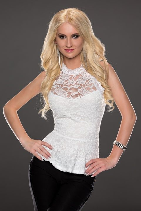 White Sleeveless Peplum Lace Top