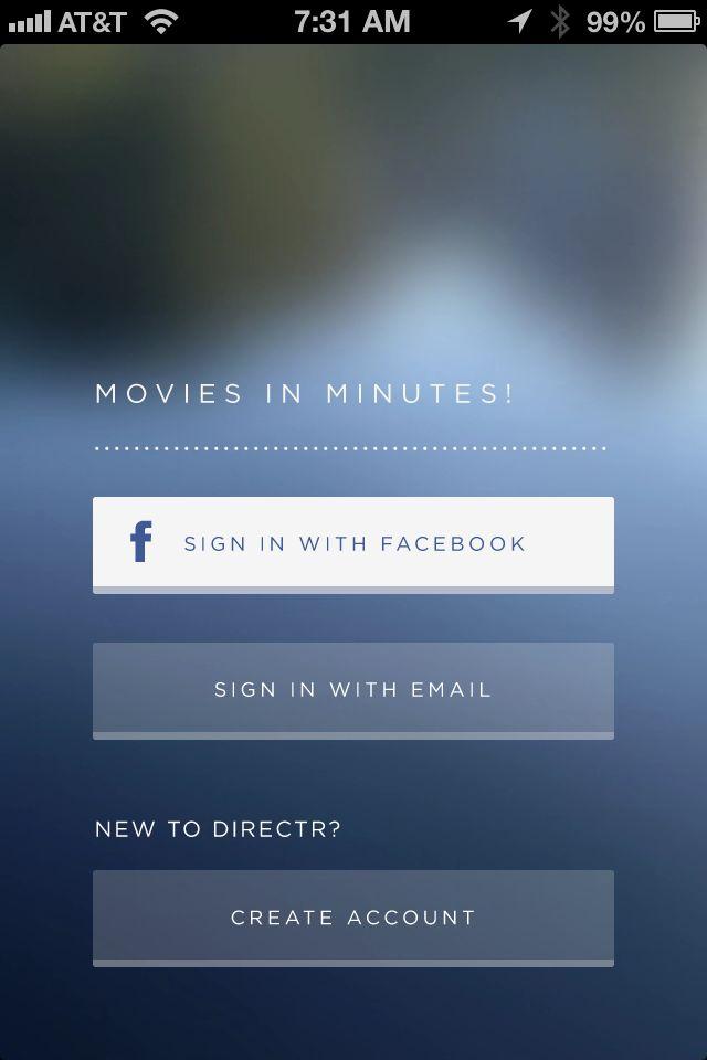 Login/Signup from Directr › PatternTap https://itunes.apple.com/us/app/directr/id526717506?mt=8