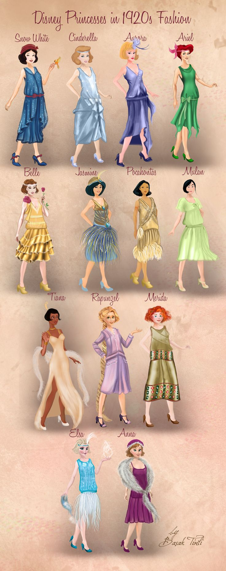 Disney Princesses in 1920s Fashion by Basak Tinli by BasakTinli