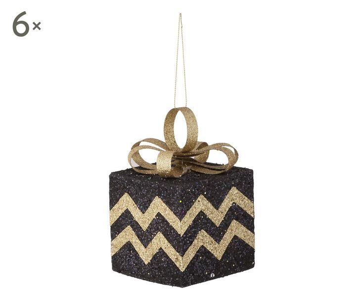 Set di 6 decorazioni da appendere in polistirolo Pacco nero/oro, 8x8x8 cm | Dalani Home & Living