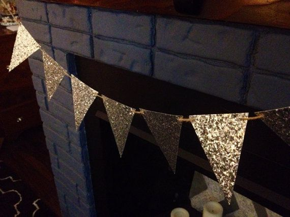 New Years Party Decor Glitter Garland // Silver Sparkly Bunting Flag - might…