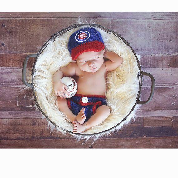 Baby-Kleidung, Hut für Neugeborene, Baby-Kleidung, Hut zum Mitnehmen, Outfit für Neugeborene – Chicago Cubs-Babymütze – future