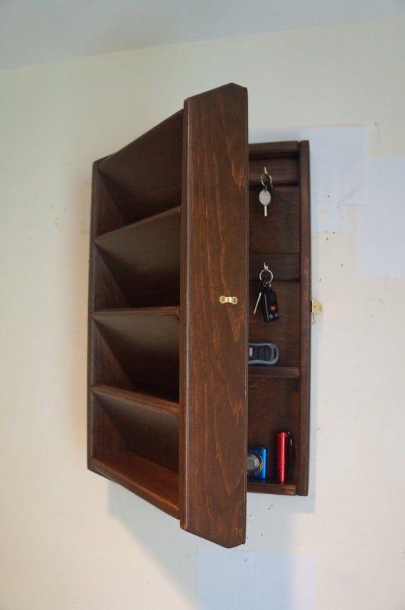 18h Hidden Key Box Mail Organizer Handcrafted Wooden Etsy Key Box Mail Organizer Wall Mail Organizer