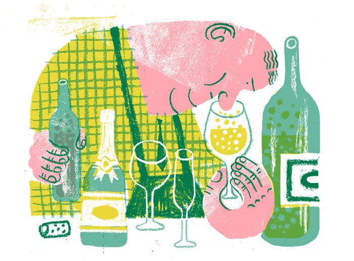 JooHee Yoon.  Le Monde Magazine,  interior cover and spot illustrations for a feature on wine and wine pairings.  c2014.