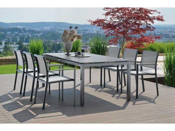 Stern Gartentisch Tischsystem Aluminium Anthrazit Silverstar Dekor