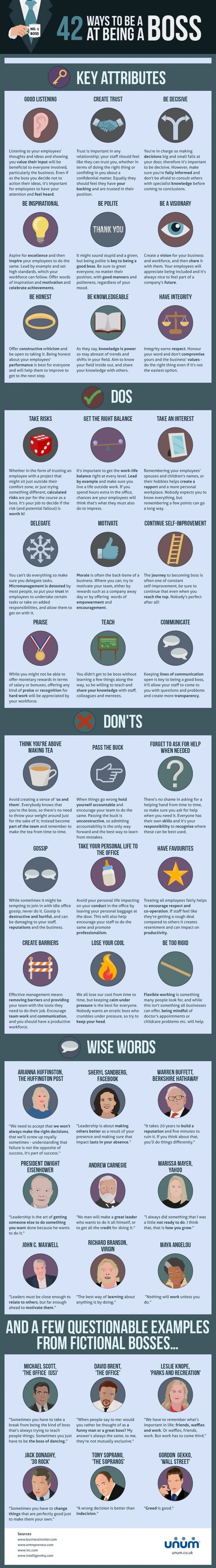 42 Ways to be a Boss at Being a Boss #infographic