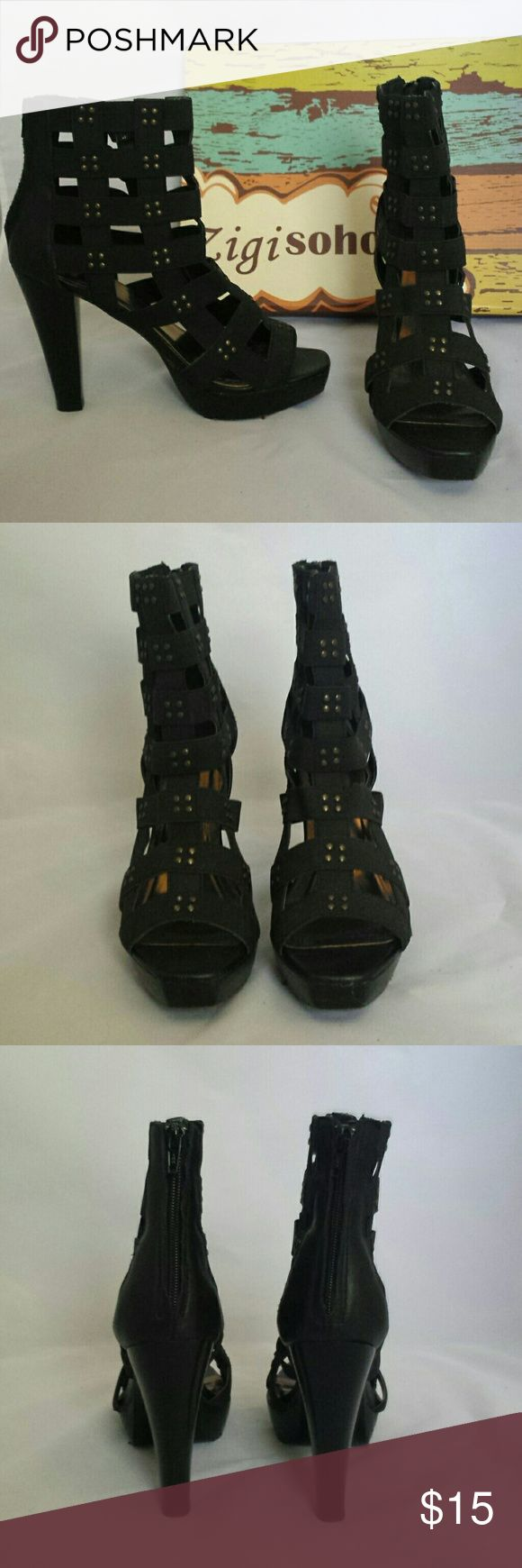 Zigi Soho Black Cage Shoes Zigi Soho Black Cage Shoes. Zipper back.  Elastic straps with small rivets.  Great condition except soles worn.  No rips or stains. Zigi Soho Shoes