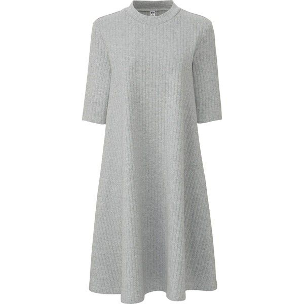 UNIQLO Women's Ribbed Cotton Flare Dress ($20) ❤ liked on Polyvore featuring dresses, grey, grey dress, uniqlo dress, grey mini dress, uniqlo and high neck dress