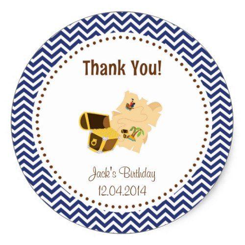 Treasure Hunt Birthday Thank You Sticker Blue