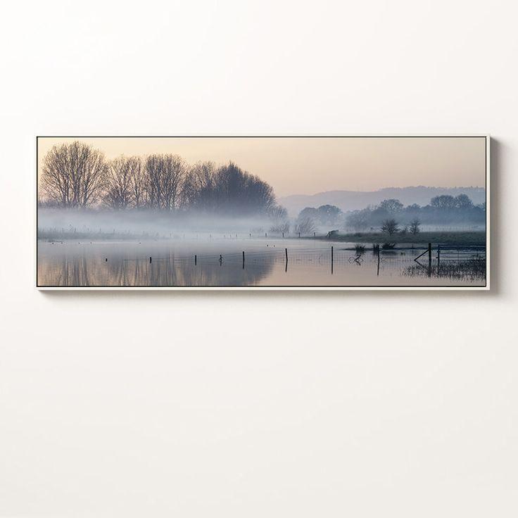 Contemporary Landscape Wall Art Premium Canvas Peaceful Lakeside B Extra Large  Dimensions - Landscape 120W x 40H cm