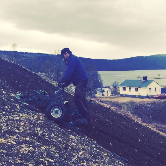 """week #23. The """"Potato Hill"""" in Ammarnäs is getting it's yearly treatment.  #vindelälven #swedishlapland #homegrown"""