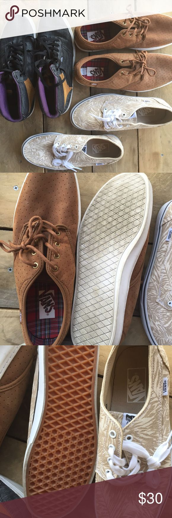 ✨SALE✨ Bundle of men's Vans Shoes!!!! Three size 10.5 Men's Vans shoe Bundle. such a deal. Palm tree print on the classic vans is Brand New NWOT. 10.5 men's. The other two are VERY gently worn 10.5 men's Vans shoes also!!! Rare styles. Brown leather one is very rare. Your man will look styling!!! Incredible deal...truly. Vans Shoes Sneakers