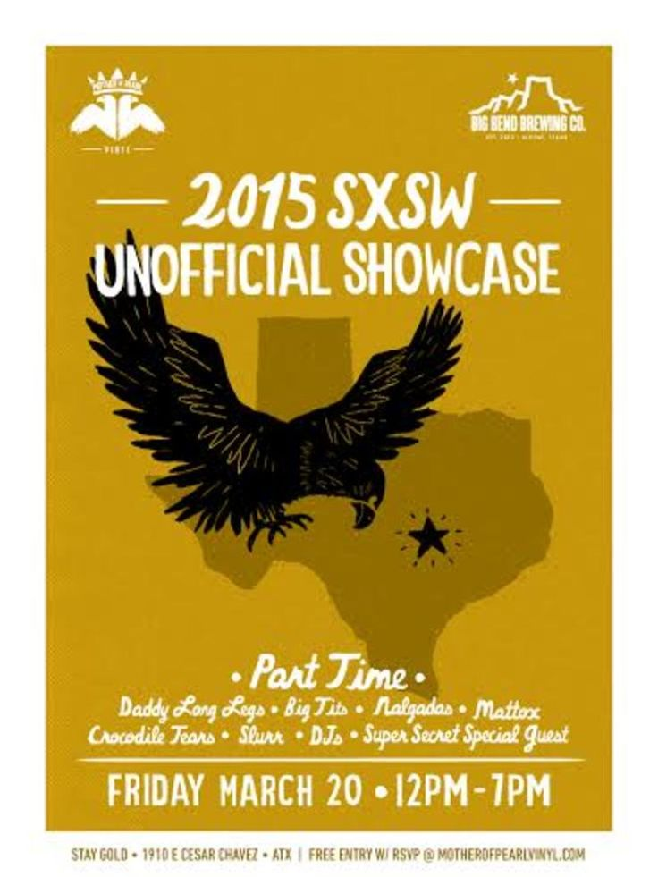 El Paso Ex-Pat Party Unofficial Showcase | Friday, March 20, 2015 | 12-7pm | Stay Gold: 1910 E. Cesar Chavez, Austin, TX 78702 | Showcase featuring Part Time, Big Tits, Daddy Long Legs and more | Details: http://2015.do512.com/elpasoexpatpartyunofficialshowcase2015 | Free with RSVP: http://www.motherofpearlvinyl.com