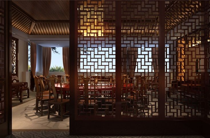 Modern simple chinese restaurant with wooden windows for