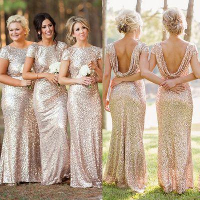 Shiny Sequin Open Back Bridesmaid Dresses,Short Sleeves Bridesmaid Dresses,Long…