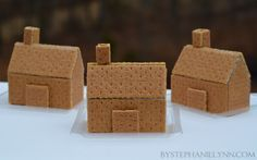 How to Make Glued Graham Cracker Gingerbread Houses: Quick & Easy Construction Plans - bystephanielynn