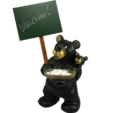 Rivers Edge Large Bear Holding Chalkboard Black Products