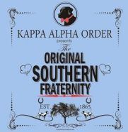 a classy simple original southern fraternity design with a dog with bow tie and a classic border.