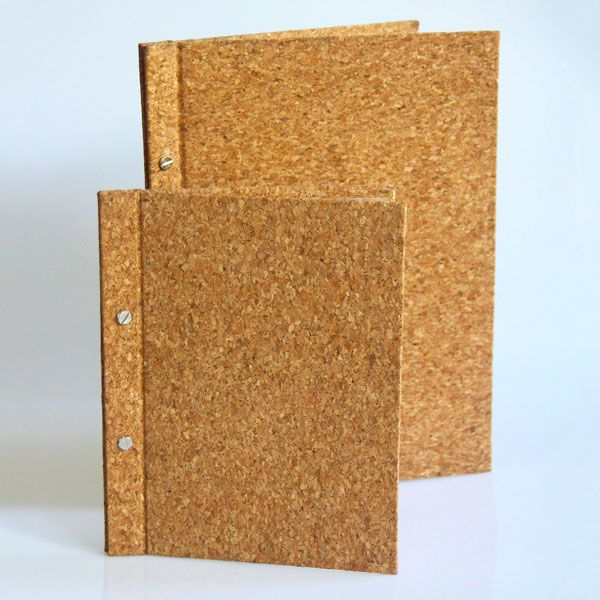 Eco friendly Menu Covers made from sustainable Cork in a choice of sizes with or without pockets.  Matching bill presenter