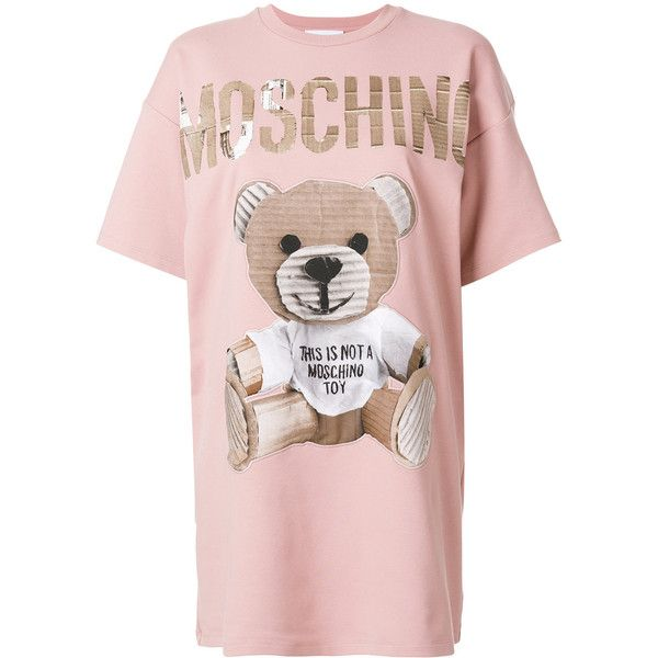 Moschino Teddy Bear Print Cotton T-Shirt Dress ($840) ❤ liked on Polyvore featuring tops, t-shirts, pink, patterned tops, short sleeve t shirt, pattern t shirt, short sleeve tops and pink tee