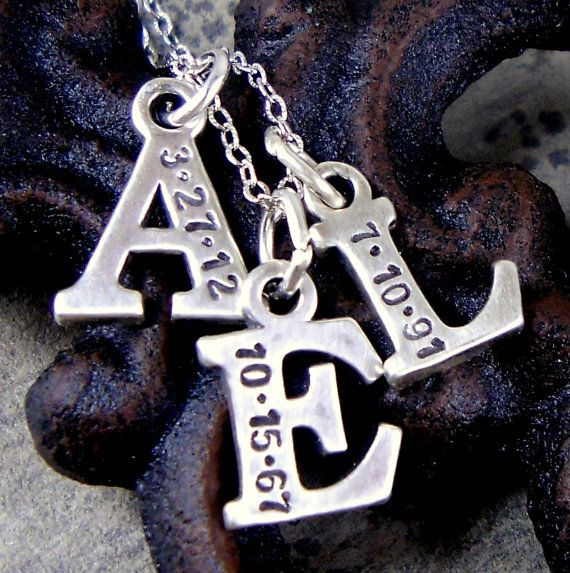 Mommy Initial Necklace, 3 Initials, Mom, Personalized, Handstamped, Date, Name, New Baby, Jewelry, Sterling Silver, Gift for Her, Mom, I2