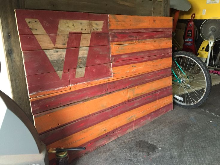 Virginia Tech Pallet Flag Wall Art