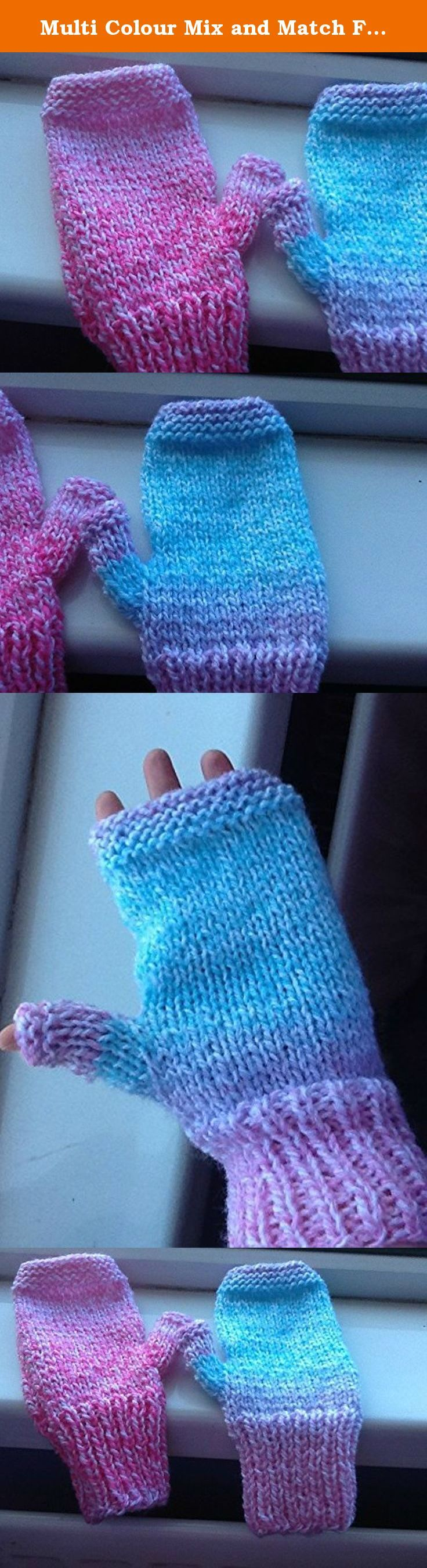 Multi Colour Mix and Match Fingerless Gloves. These adorable and colourful mix and match gloves are perfect for keeping your hands warm while out running, doing errands, or while out on a day trip. They would also make a beautiful gift. I hand knit these gloves using double knit yarn. Each glove is different - one is mainly pink and white whereas the other one is pink, purple and blue with white throughout. There is a little thumb gusset on each hand to provide a little extra heat. Each...