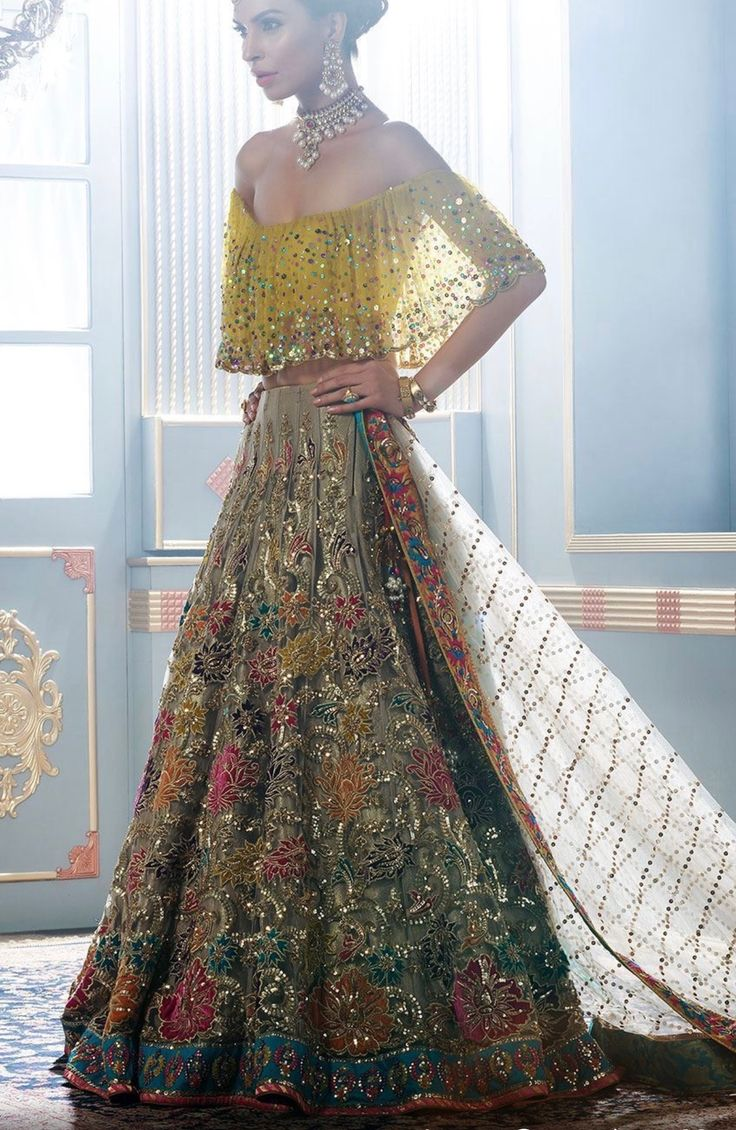 Nude Lehenga With Multi Colour Flowers And Off Shoulder -5671