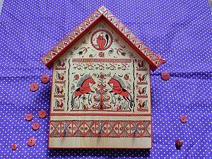 Ключница в стиле мезенской росписи | Ярмарка Мастеров - ручная работа, handmade