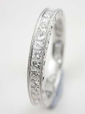 Princess Cut Diamond Eternity Band with Leaf Motif | Topazery, RG-3476, Nonstop diamond brilliance dominates in this princess cut vintage style wedding ring with leaf motif.