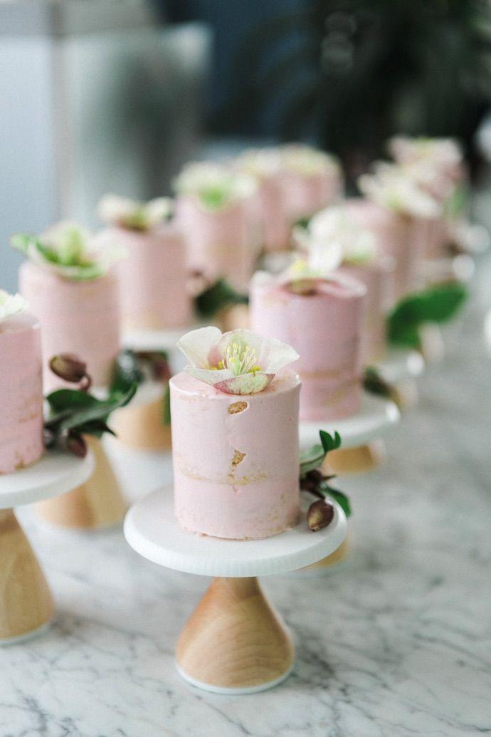 Bridal shower dessert idea - mini, personal pink cakes {Courtesy of The Glitter Guide}