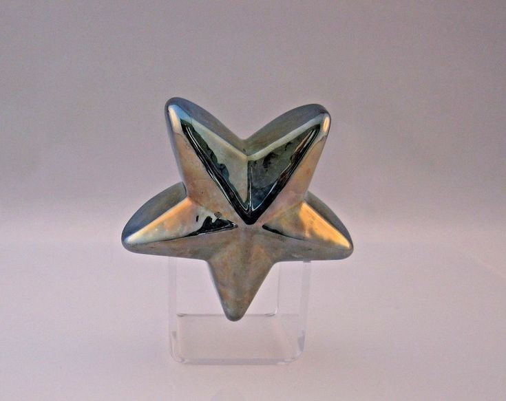 Robert Held Steampunk Brassy Silver STAR Shaped Paperweight Signed Label #RobertHeld