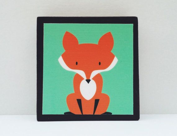 Little Red Fox Art Block Turquoise Background  by WoodlingsArt, $15.00