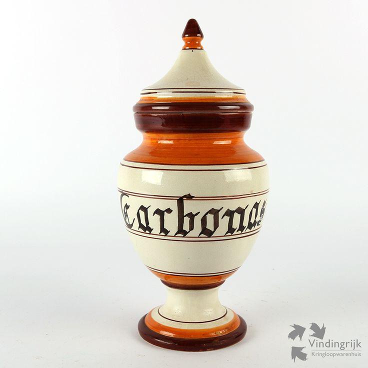 vintage apothekerspot keramiek deksel Carbonas geneesmiddel apotheek medisch