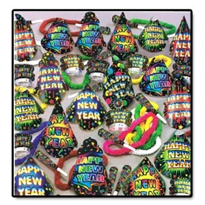 "The Grand Assortment for 100 People.     Assortment includes 50 full sized printed H.N.Y. hats, 50 printed H.N.Y. tiaras, 100 9"" printed H.N.Y. horns & 50 soft twisted poly leis, complete in a corrugated shipper."