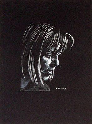 Ingeborg Bachmann(Weiße Kreide auf schwarzem Karton)